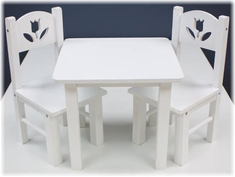 18 doll table and chairs 18 quot doll furniture wood table chairs set 18 quot white