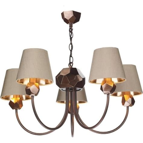 5 Arm Traditional Copper Ceiling Light Fitting With Taupe Copper Ceiling Lights Uk