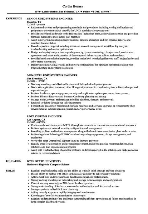 unix systems engineer resume sles velvet