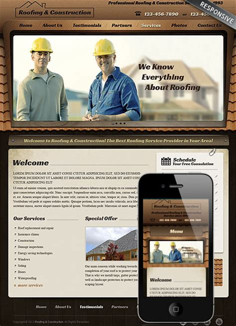 Responsive Roofing Wordpress Theme 111650 Simple Templates Dynamic Responsive Website Templates Free