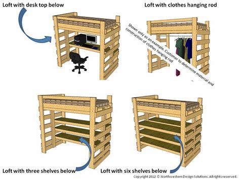 single twin loft bed bunk bed plans  college dorm