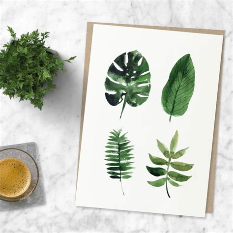 Leaf Print tropical leaf print watercolour illustration by the