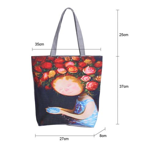 floral printed canvas tote single shopping bags