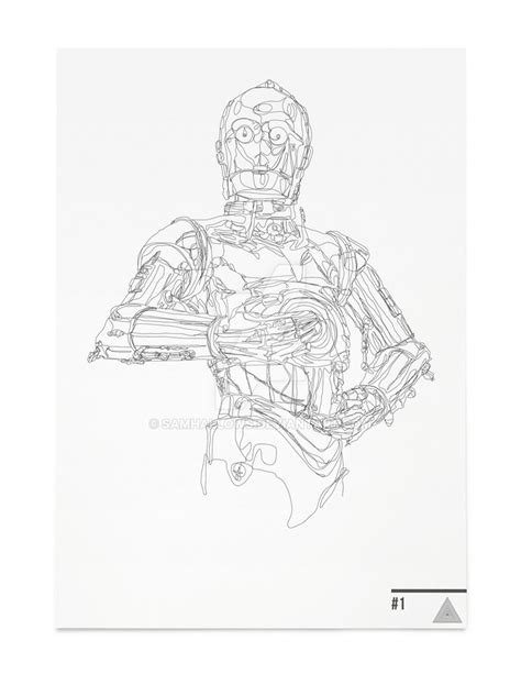 Poster A2 Wars All Droids c3po starwars continuous line illustration by samhallows