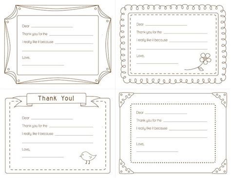 Thank You Letter Blank Template Fill In The Blank Kid S Thank Yous Amyjdelightful Goodies Pintere