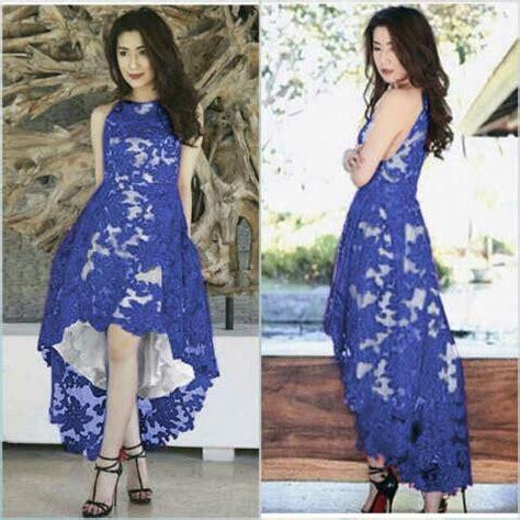Sale Dress Biru Twiscon Mix Brukat baju gaun pesta brukat cantik murah desain model terbaru