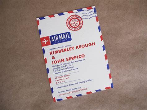 invitation design mail kim john s letterpress airmail wedding invitations