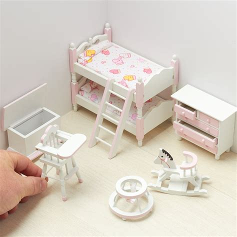 Dollhouse Miniature Girl S Bedroom Set Bedroom Miniature Dollhouse Bedroom Furniture