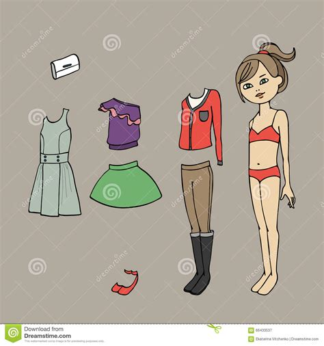 cute dress up paper doll body template clothing and