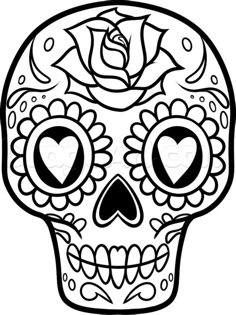 How To Draw A Mexican Skull draw a sugar skull easy step by step drawing sheets