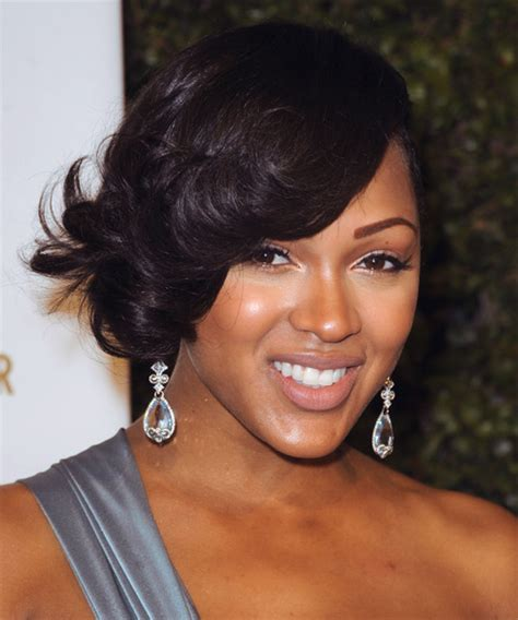 meagan good inspired hairstyle on short natural hair meagan good short wavy formal hairstyle black