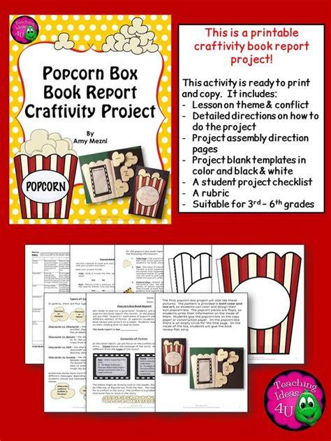 book report theme fiction popcorn box book report craftivity project theme