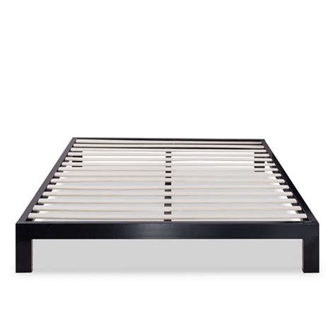 Queen Modern Black Metal Platform Bed Frame With Wooden Bed Frame With Slats