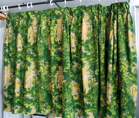 1940s curtains vintage 1940s green and yellow forrest pattern barkcloth