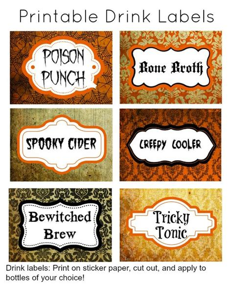 Printable Drink Labels | 31 days of halloween free halloween printable drink