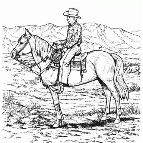 cowboy horse coloring page cowboy riding horse coloring page adult complicated