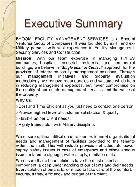 security company profile template bhoomi facility management services bfms company profile