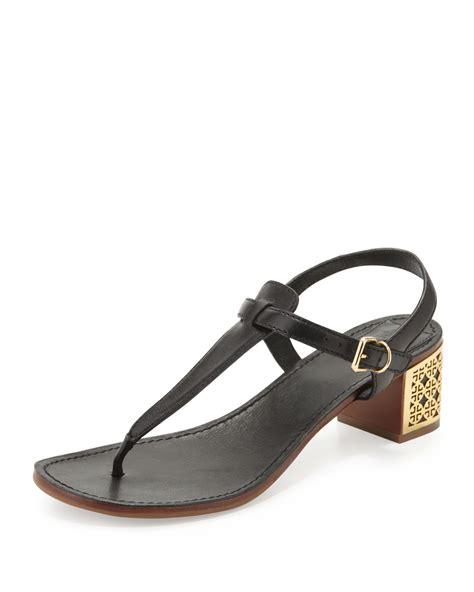 black burch sandals burch audra logoheel sandal in black lyst