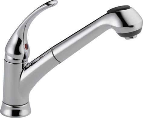 Single Hole Kitchen Faucet With Pull Out Spray by Delta B4310lf Chrome Foundations Core B Pull Out Kitchen