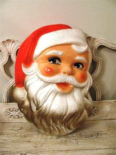 vintage large styrofoam santa head retro christmas decor