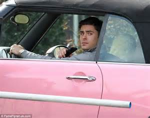 Baby Pink Mini Cooper For Sale Zac Efron Drives A Pink Convertible Mini Cooper On