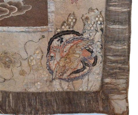large antique japanese silk embroidery featuring dragons