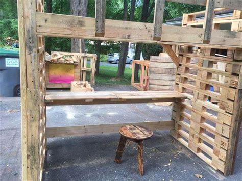 diy pallet loft bed plans pallet bed frame with study desk 101 pallets