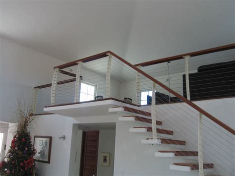 Cable Stair Railings Interior by White Interior Cable Railing On Cantilever Stairs