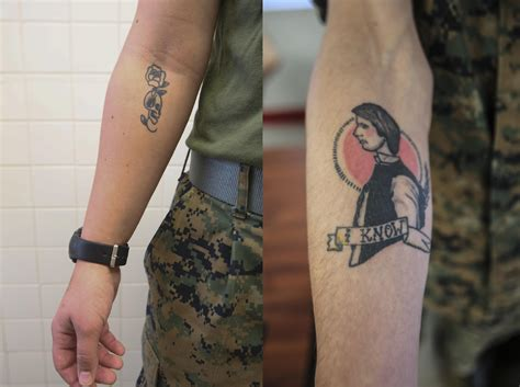 wrist to elbow sleeve tattoo right to bare arms marine corps new policy gt ii