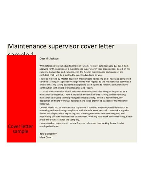 exle of cover letter for supervisor position basic maintenance supervisor cover letter sles and