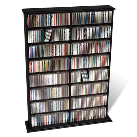 dvd racks 51 quot double cd dvd wall media storage rack in black bma 0640
