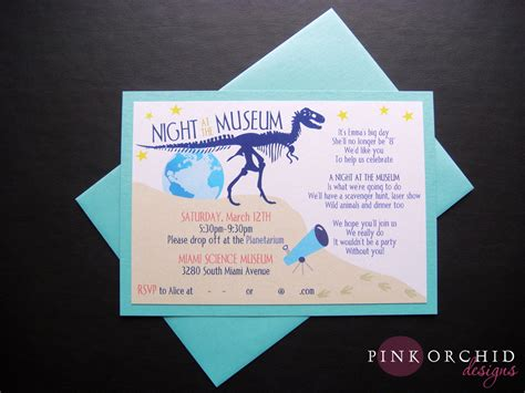 Design Museum Invitation | pink orchid weddings night at the museum birthday invitations