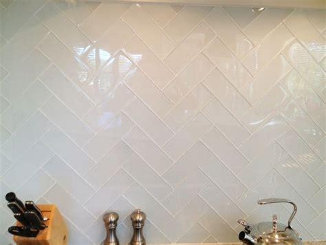 subway tile b a s blog milk white glass tiles in herringbone pattern with white