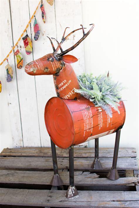 Deer Planter reclaimed metal deer planter wine cooler