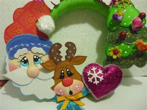 Imagenes Bonitas De Navidad En Foami | hermosa corona de navidad moldes manualidades en goma