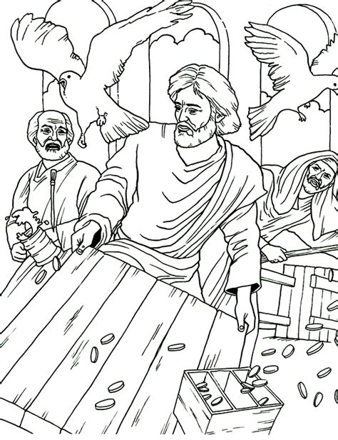 free coloring page jesus in the temple jesus cleansing the temple coloring page
