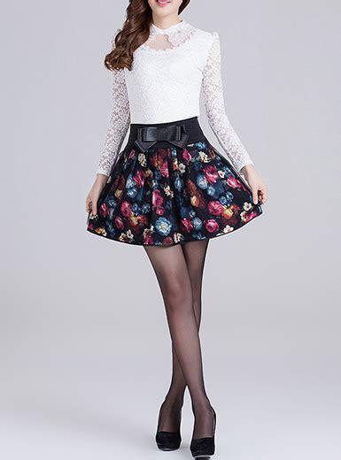 Impor Layer Bow Black White Mini Midi Skirt Flare Rok Sepan Span Hitam circle skirt three layers floral print bow detail