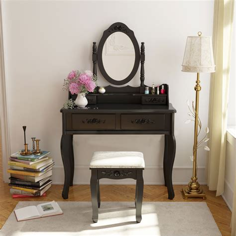 black makeup desk with drawers vanity makeup dressing jewelry 4 set w stool
