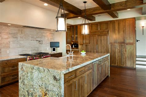 Kitchen Backsplash Design by Kitchen Exposed Beams Waterfall Granite Countertops