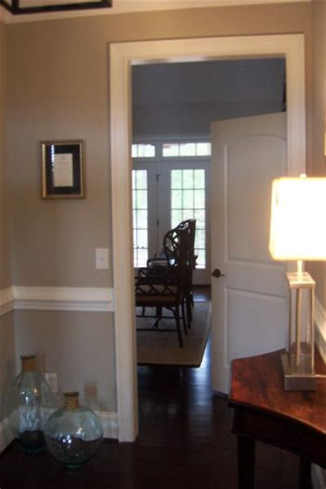 beige paint color transitional entrance foyer