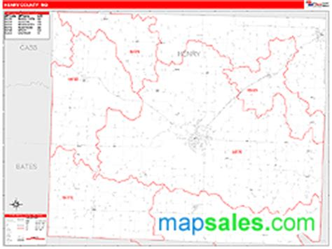 henry county section 8 henry county mo zip code wall map red line style by