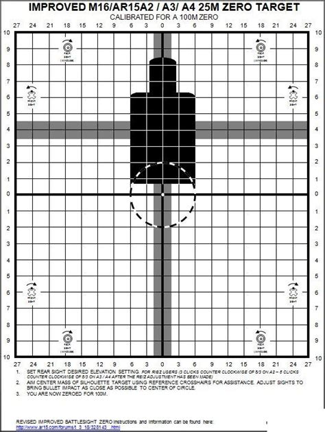 printable zero targets 25 meter improved 25m ar15a2 a3 a4 ar15 carbine zero targets