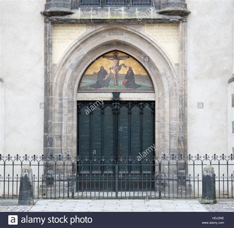 church s thesis door of wittenberg castle church where martin luther