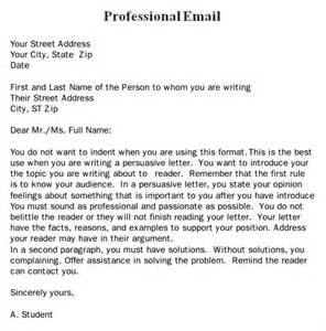 Business Letter Template For Email Professional Email Template 7 Free For Pdf Sle Templates