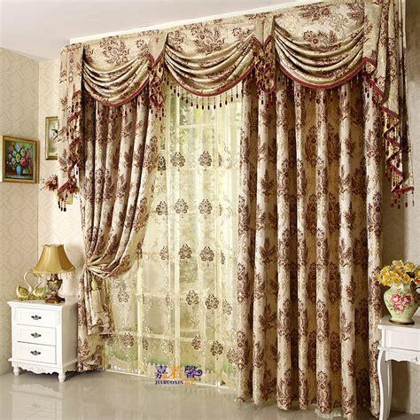 Luxury Window Valances 高档欧式欧花客厅别墅卧室窗幔帘头窗帘成品 定宽买高 米 红 咖