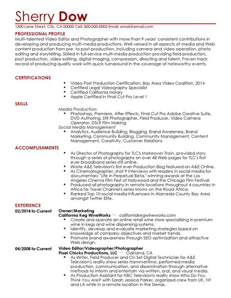 Videographer Resume by Professional Videographer Templates To Showcase Your