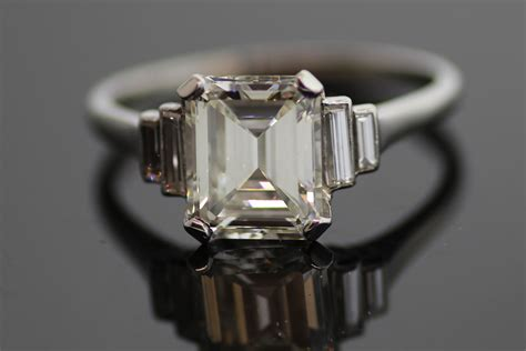 emerald cut engagement ring vintage onewed