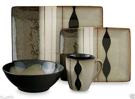 16 piece black modern dinnerware set service dishes