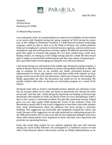 Recommendation Letter For College Grant Letter Of Recommendation For Grant Maddox 1