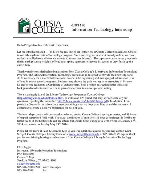 Introduction Letter For Internship Cuesta College Libt 214 Letter Of Introduction